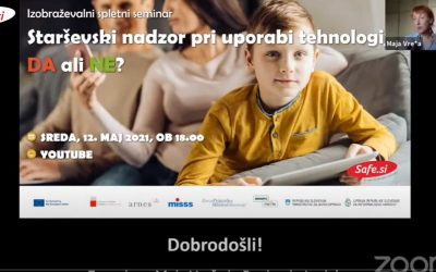 Spletno predavanje starševski nadzor pri uporabi tehnologij: DA ali NE?